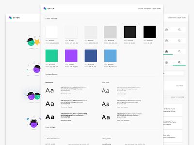 Often | Style Guide illustration identity branding style kit fonts color style guide lyrics music mobile ux ui