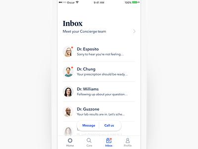 Inbox message chat inbox navigation medical health mobile ux ui