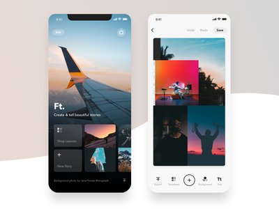 Featured 3.0 layouts instagram editor canvas homescreen stories photo clean mobile ux ui