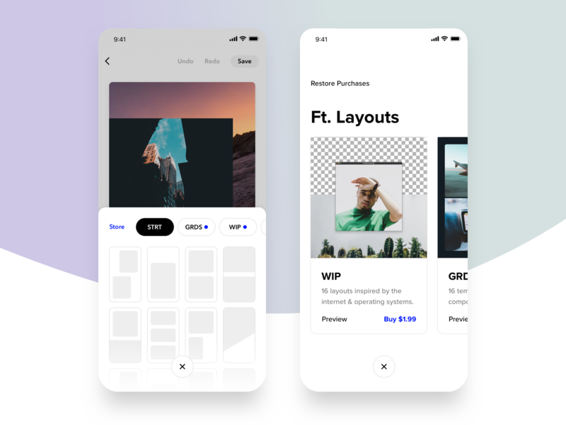 Layouts + Store template shop pills widget drawer cards store layouts clean mobile ux ui