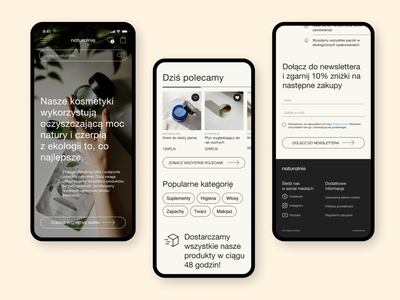 Natural cosmetics e-commerce mobile website concept landing page typography ux ui design cosmetics natural e-commerce mobile