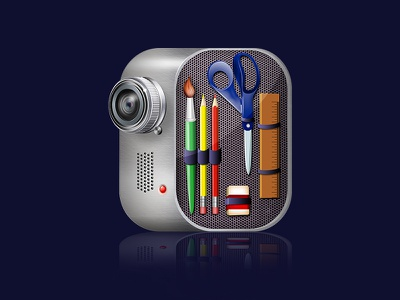 Videpaintle icon video camera silver icon web photoshop
