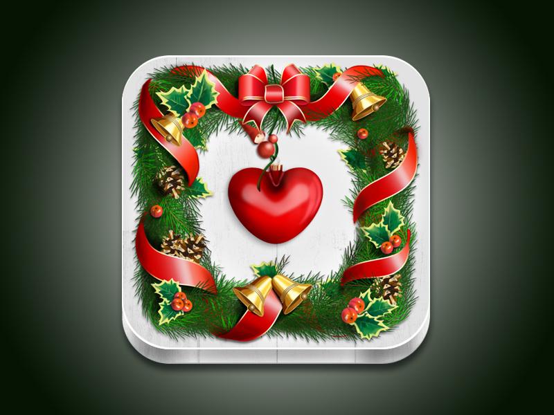 Christmas Wreath iOS Icon icon photoshop christmas wreath