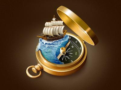 Compass Icon icon photoshop compass ship sea water