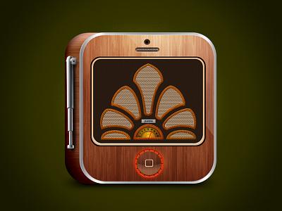 old radio iOS icon  iphone icon photoshop radio ios app
