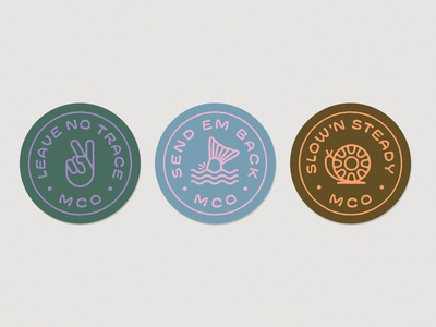 Mill City Outfitters Sticker Pack branding snail peace fly reel illustration catch and release slow and steady leave no trace love the environment stickers outdoors fishing fly fishing