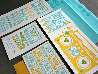 Peterson Invite wedding invite wedding invitation letterpress two color mixtape