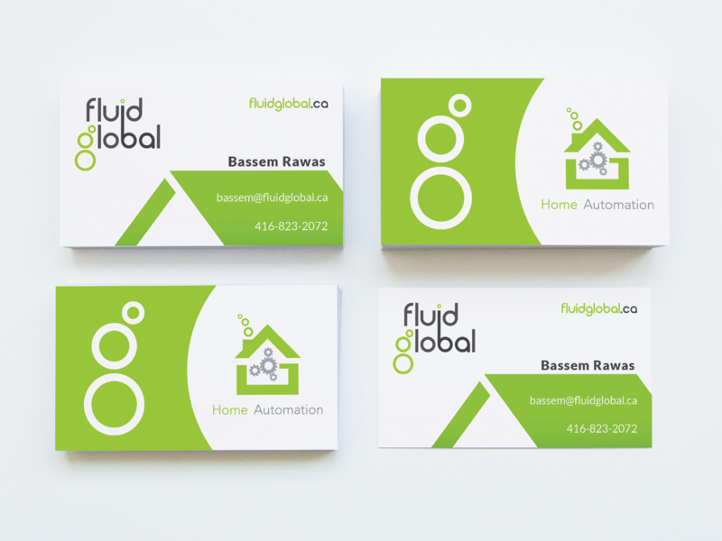 Fluid Global Logo Business Cards 2 X 2 visual design graphic  design busines card home automation visual identity branding logo brand identity logo design design brand