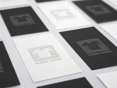 Human Canvas BC logo logotype black and white black brand branding bc business card card