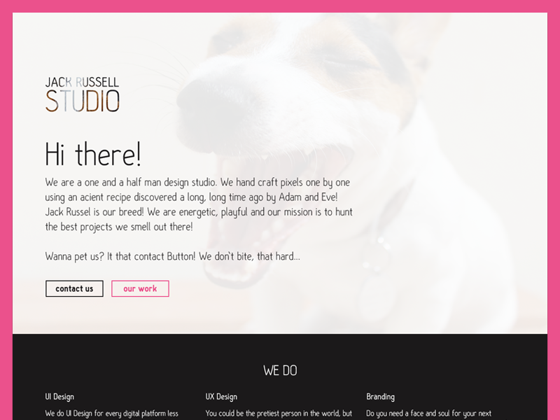 Final version of Jack Russell Studio Website jack russell jack russell studio website web flat corporate landing page page
