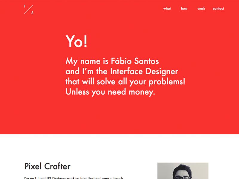 My personal website (starting it) yo red website landing page page web portfolio