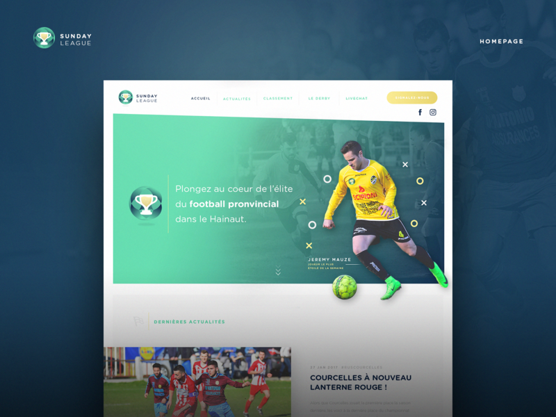 Sunday League - Homepage graphicdesign uidesign homepage landing football design website ux ui webdesign
