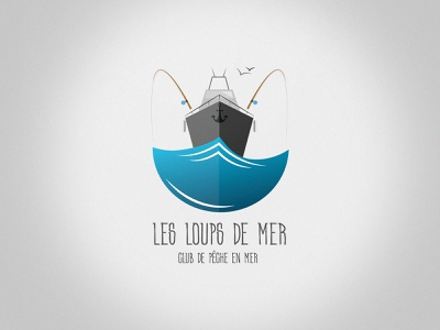 Loups de mer - Logo print design illustration wave fishing graphicdesign logo branding