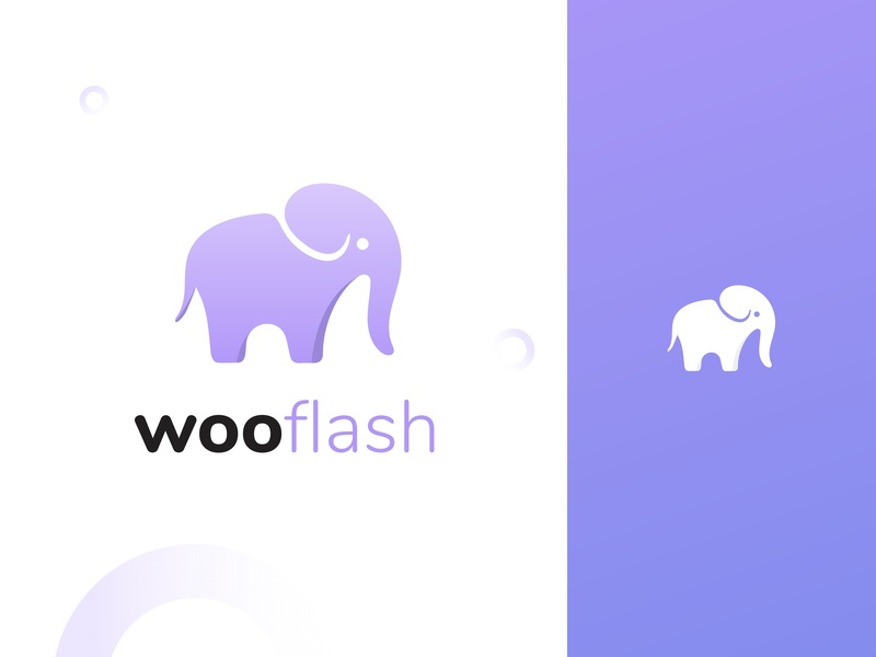 wooflash - logo print logodesign elephant ai purple illustration design graphicdesign graphics logo branding