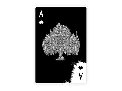 A shovel black  white maze playing card card design