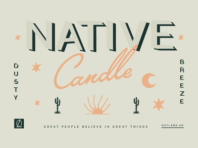Candle Label design desert candle packaging label