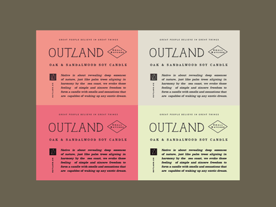 Label Design - Outland typography vintage outdoor candles brand and identity packaging label design candle
