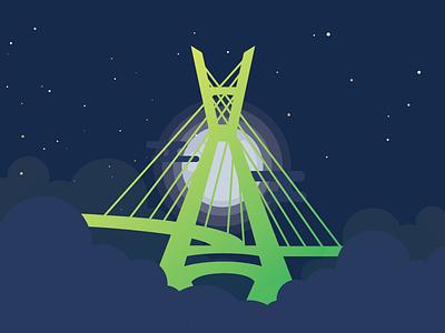 Sao Paulo Bridge vector stars clouds moon night yellow green brazil bridge