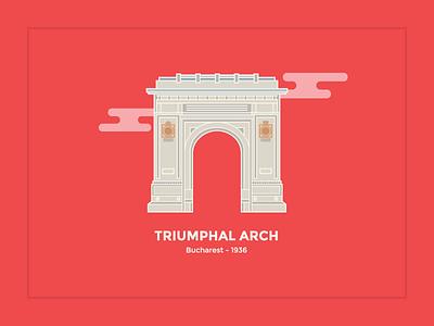 Triumphal Arch color visualcookies clouds red bucharest arch triumphal