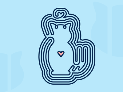 One Line Cat heart blue visualcookies cat logo icon line