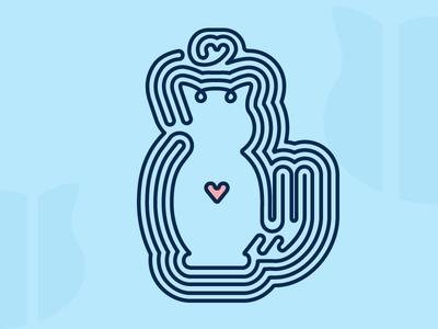 One Line Cat heart blue visualcookies cat logo icon line