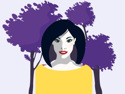 Purple Trees tree minimalism illustration vector portrait yellow purple