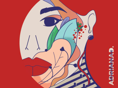 Flowers Eyes Lips Tombs cubism leaf water-soluble ink effect nature branding minimalism red