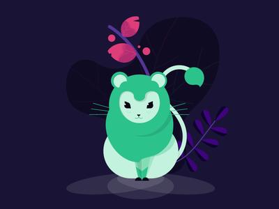 Chibi-Lion predator animal illustration leo cute green smug leaf mascot lion