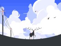 Deer from  distance