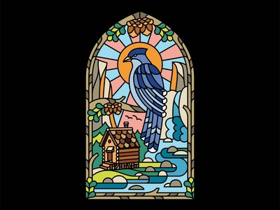 Stained Glass Blue Jay