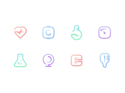 Line Icons thermometer quilt camera blood itch weight scale blood pressure wristband heart