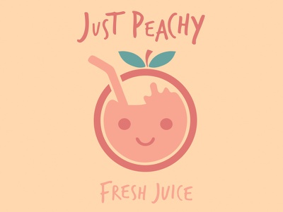 """Just Peachy"" Fresh Juice Logo clean simple friendly kids design beverage drink logo peachy juice fruit"