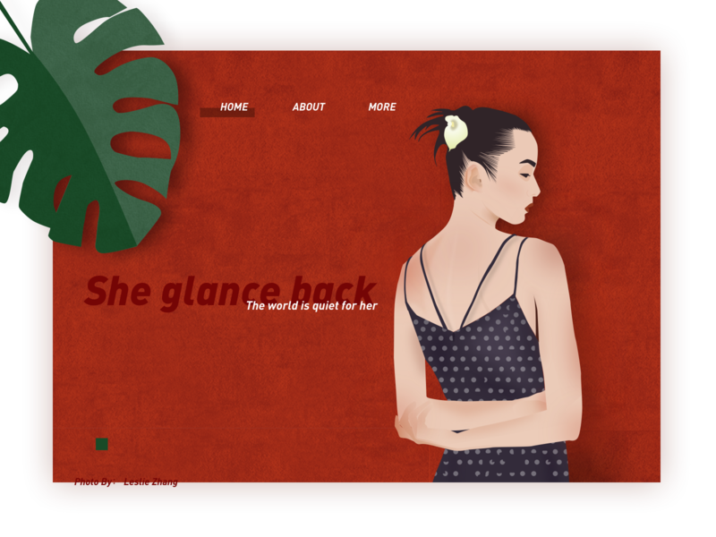 A girl glance back. & Hello dribbble! web design illustration