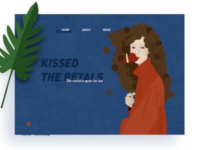 A girl kissed  the petals.