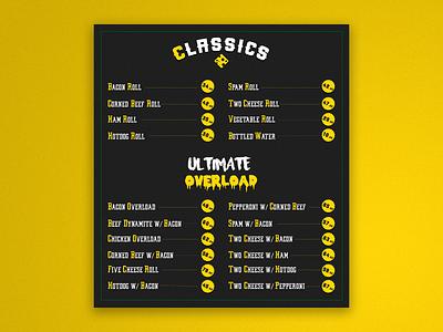 Menuboard [Commission work] classic typography food delivery illustration design food menu