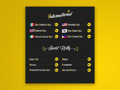 Menuboard [Commission work] modern menu typography illustration food delivery food design