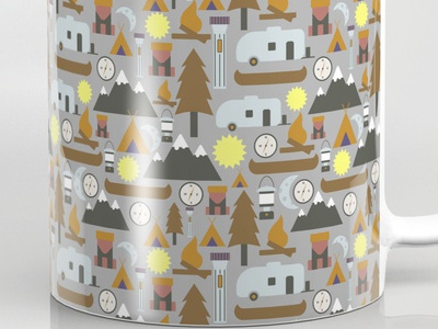 Camping Adventure Mugs camping mug coffee outdoor design pattern surface