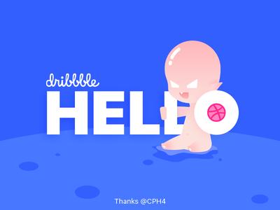 Hello Dribbble! illustration baby blue dribbble hello