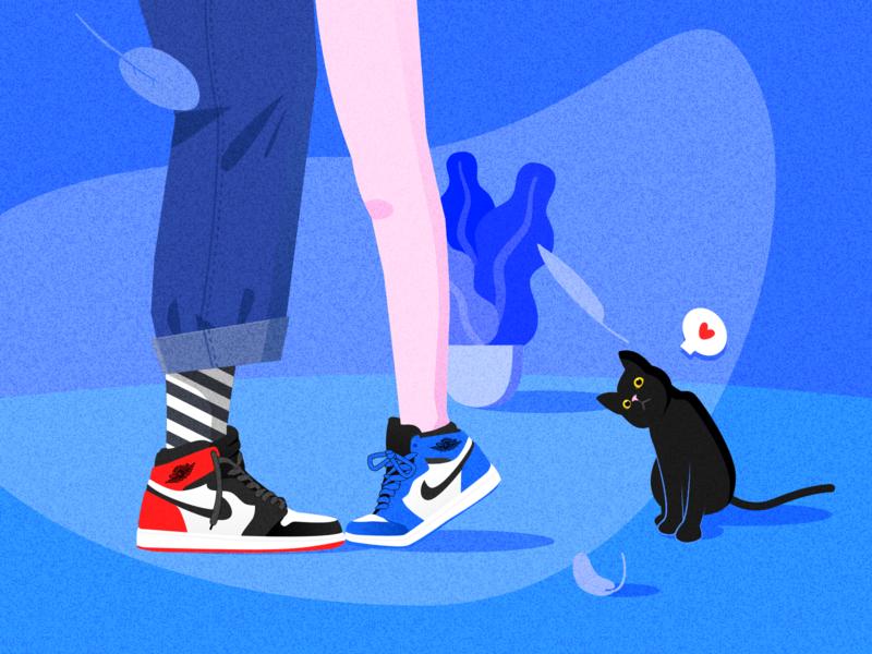 Tiptoe & Kiss nike aj1 aj blue cat kiss lovers tunan gradient colour flat 设计 向量 插图