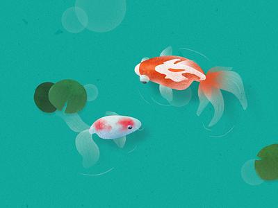 Goldfish in the pond fish design tunan illustration