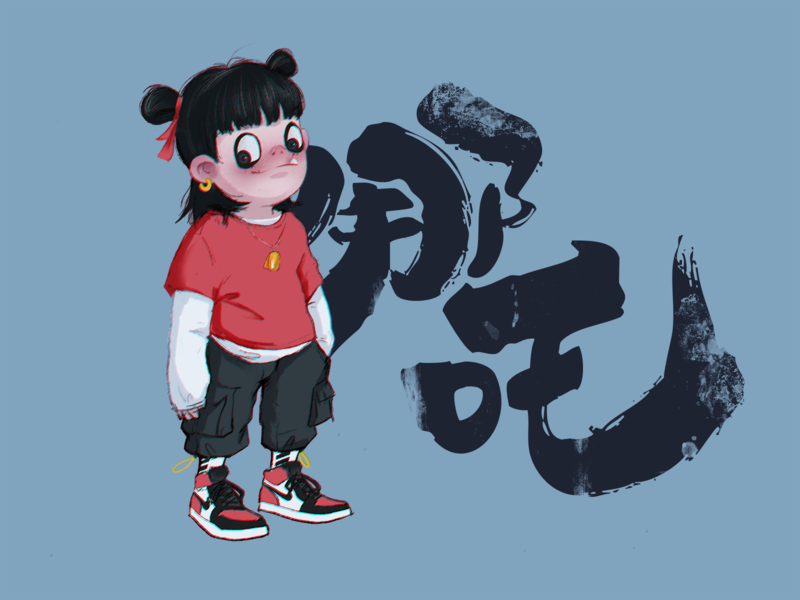 Nezha illustration design tunan