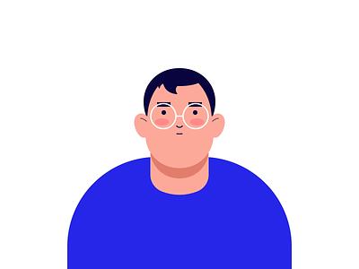 Fake 3D man vector gradient blue colour mp4 animation illustration gif design tunan