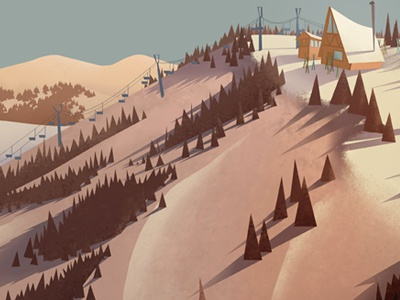 Parkcity photoshop paint cabin trees mountain ski lift ski