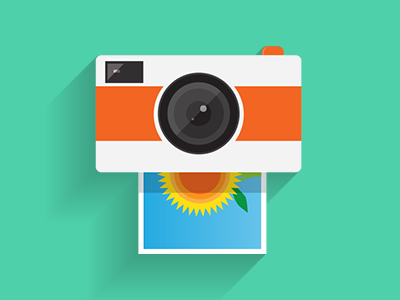 Photo printing icon camera photo printing flat long shadow icon design logo designer ireland