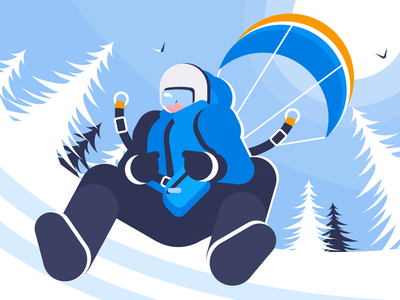 skiing boy illustration