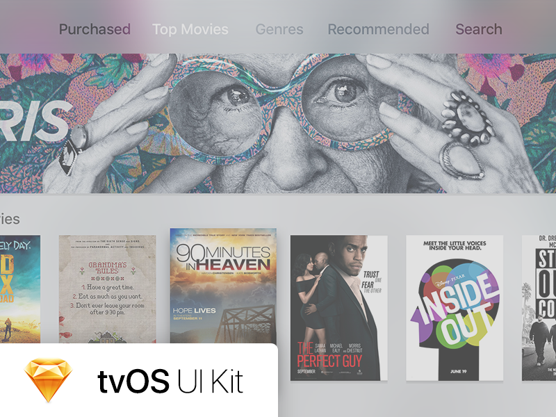 tvOS UI Kit by Matthew Hewes for WillowTree on Dribbble