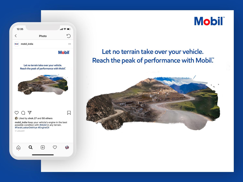 Exxon Mobil, India | Social Post engine minimal image manipulation landscape car performance terrain vehicle performance lubricant india exxon mobil