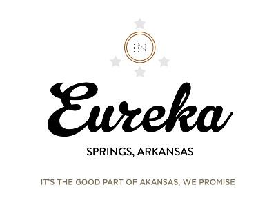 The Good Part of Arkansas wedding invitation eureka springs arkansas print star icon black gold tan white invite