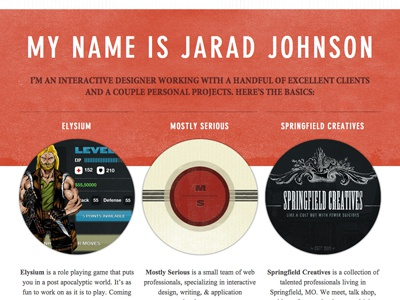 My Name Is: Portfolio Website Redesign jaradjohnson.com redesign red texture din mostly serious springfield creatives portfolio
