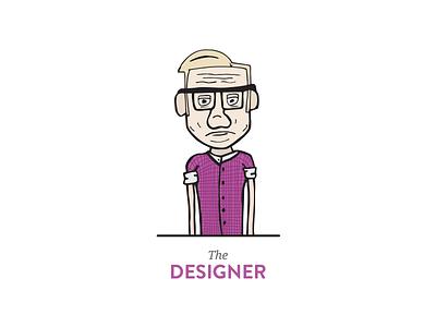 The Designer illustration old man designer pink glasses concept